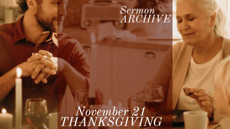 Thanksgiving Sermon at First Church, Sarasota Florida