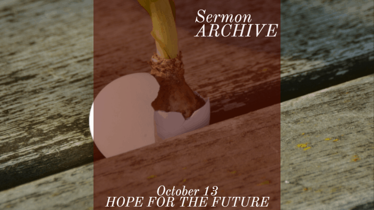 Hope for the Future Sermon at First Church, Sarasota Florida